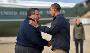 Christie greets the President