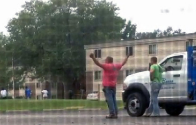 White men react to witnessing Police Officer Darren Wilson gun down unarmed teen in Ferguson, MO.