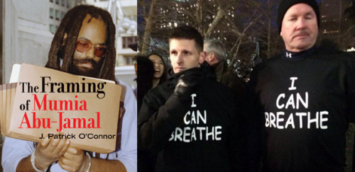 Imprisoned political prisoner and journalist Mumia Abu Jamal and two unidentified NYPD cops using freedom of speech to mock a police brutality victim Eric Garner.